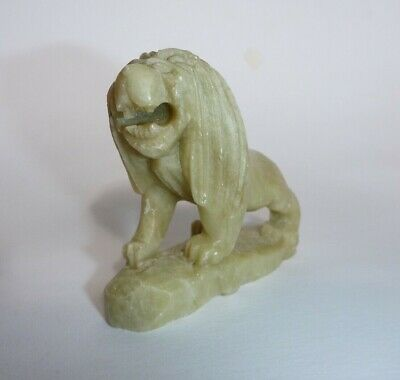 Asian Oriental Small Light Green Sculpture Figure Carved Stone Lion Statue Décor