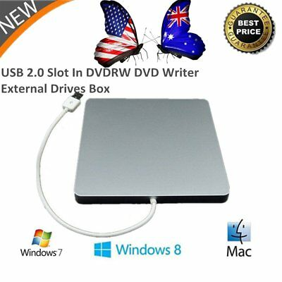 USB 2.0 IDE Apple MacBook Laptop DVD ROM Drive External Slim Slot-in Box Case J9