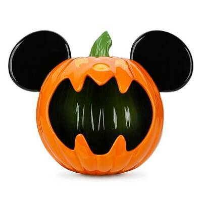Disney Parks 2019 Mickey Mouse Ceramic Halloween Pumpkin Candy Bowl - New