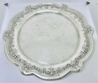 Rare Large European continental solid  silver tray or Dish ,Portugal ,hallmarked