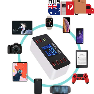 8Port Multi Fast USB Charger Quick Charge 3.0 Phone Charging Station LED Display