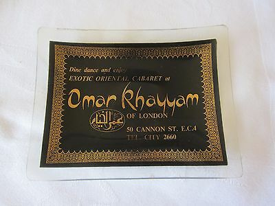 Vintage Omar Khayyam London Exotic Oriental Cabaret Glass Vide Poche, Coin Tray