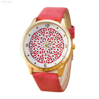 E693 Quartz Watch Flower Hollowed-Out Woman Wristwatches Lady Red PU Leather