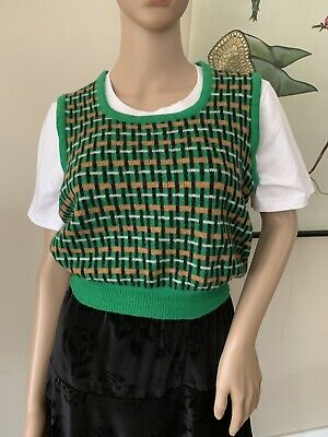 Vintage Knitted Vest 100% Mohair Wool Brown Fair Isle Size S Knit Top Retro Vest
