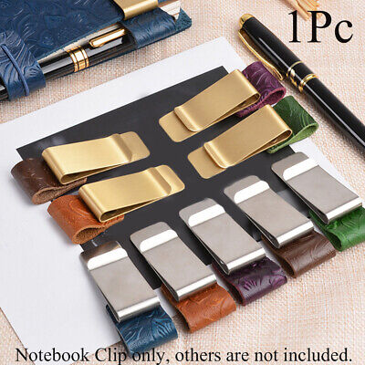 Brass Pen Folder Notebook Holder Stainless Steel Clips Handmade Leather