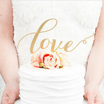 LOVE Cake Topper Sparkle Glitter Gold Wedding Decorating Engagement Party SC