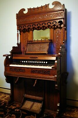 Elaborately Carved Antique Cornish & Co. Pedal Pump Parlour Organ