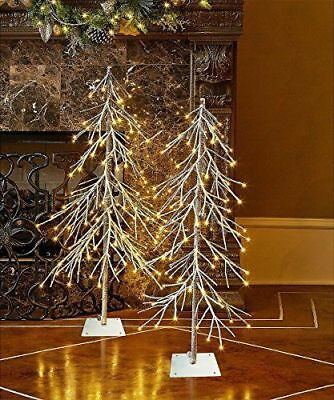 3Ft Xmas Tree with 75 LED  Snow Dusted Snow Tree Lighted Snow Covered Fir Tree