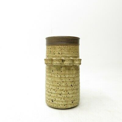 Vtg Speckled Earthy Chunky Studio Pottery Vase Vessel Utensil Holder 1970's