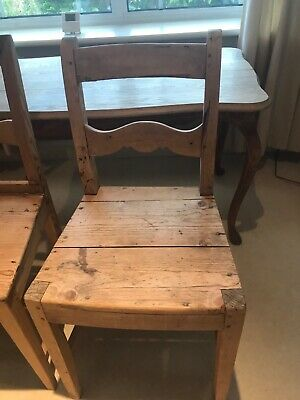 antique Norwegian oak table and two chairs from 1920s/1930s