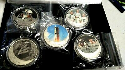 2019  APOLLO 11 Worth Collection - Silver Plated - Coloured Medallions x 5