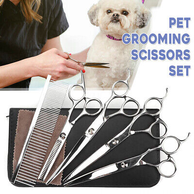 7'' Professional Pet Dog Grooming Scissors Set Straight Curved Thinning Shears