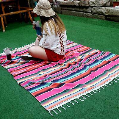 Mexican Blanket Yoga Throw Rug Saltillo Tablecloth Table Runner Wedding Decor