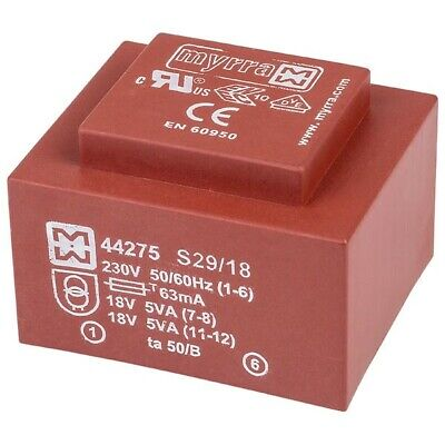 Myrra 44275 EI48 Encapsulated PCB Transformer 230V 10VA 0-18V 0-18V