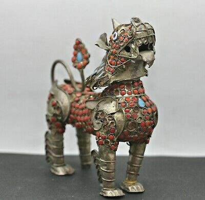 Antique Tibetan Silver Alloy Temple Lion Statue Studded w/Coral & Turquoise