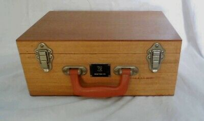 Vintage brown wood microscope instrument case box bag handbag travel