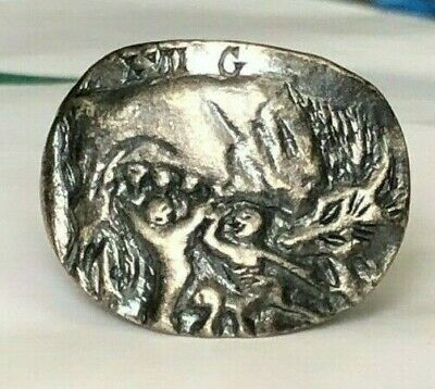Ancient Roman Silver Legionary Ring Depicting She Wolf Inlaid (L - Vii - G )