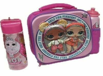 L.O.L.Pink Lunch Box Embossed Lunch Bag wih Drinking Bottle Set