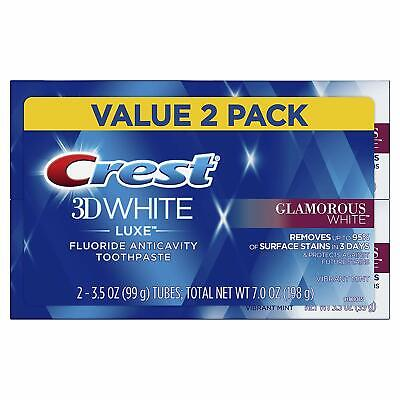 P-Crest Twin Pack 3D White Luxe Glamorous White Toothpaste, 3.5 Ounce each, 2 Pa