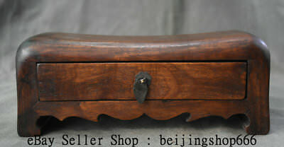 """6.4"""" Old Chinese Huanghuali Wood Dynasty Palace Drawer Weeping Willow Pillow"""