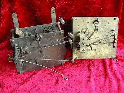 Two old three train chiming clock movements Kienzle German for spares repair