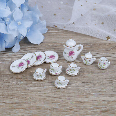 15Pcs 1:12 Dollhouse miniature tableware porcelain ceramic coffee tea cupsRKVG