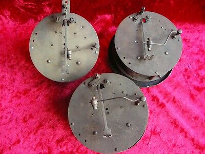 Three old chiming clock movements Rex and Hamburg American clock Co mantel brass