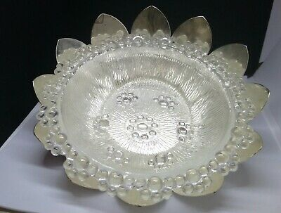Vintage Silver Plate Petal Dish with Crystal Glass Bowl Insert- Brama England
