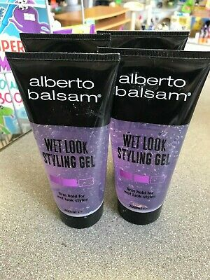 4 x 200ml Bottles of Alberto Balsam Wet Look Styling Gel Firm Hold Hair Fashion