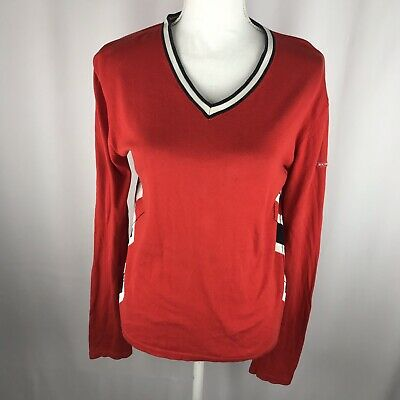 Burberry Golf Womens Red V Neck Long Sleeve Sweater Size XL XLarge