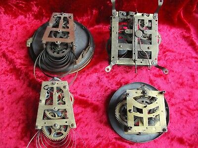 Four old antique windup clock movements for spares / repair Hamburg clock Co etc