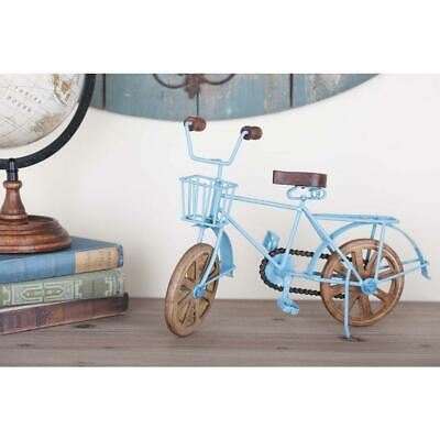 Litton Lane Vintage Bicycle 14 x 9 In. Sky Blue Iron Wooden Naturalistic Finish