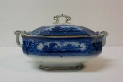 English Ford & Sons VERONA Flow Blue Gravy / Sauce Lidded Tureen