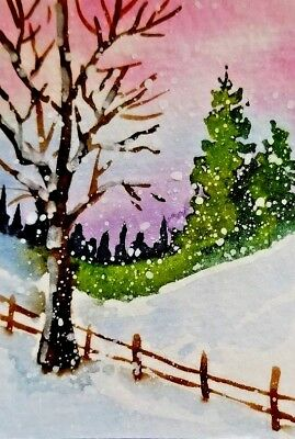 "ACEO Original Watercolor  by J Irwin     ""winter storm""     Snow  Trees"