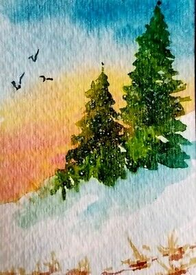 "ACEO Original Watercolor  by J Irwin     ""Winter Day""    Snow   Trees"