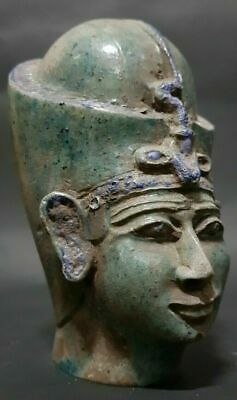 Rare ANCIENT EGYPTIAN ANTIQUES Head Of Queen Toya Egypt Blue Glazed Stone