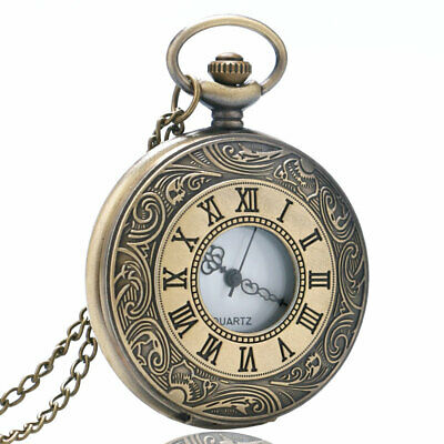Casual Quartz Pocket Watch Half Hunter Analog Necklace Chain Watch Hollow Out
