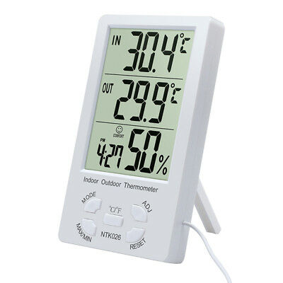 Indoor/Outdoor Thermometer Digital LCD Hygrometer Meter Temperature Humid+TRFR