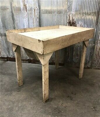 Vintage Restaurant Prep Table Trash Chute, Industrial Work Table Harvest Table