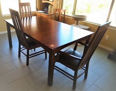 Stickley Quarter Sawn Oak ELLIS Dining Table 6 Chairs & 2 Leaves