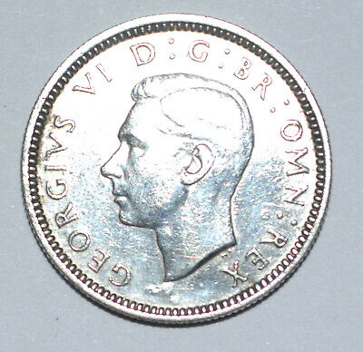 1940 King George VI Silver Sixpence