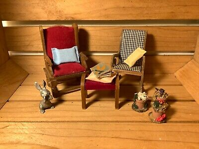 Miniature Wood Doll House Furniture Lot Chair , Rocking Chair, Stool And More