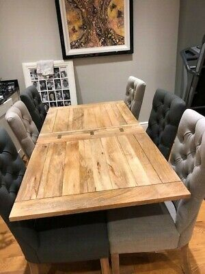 Extending Rustic Farmhouse Dining Table Drop Leaf + 6 Chairs RTP £1,415