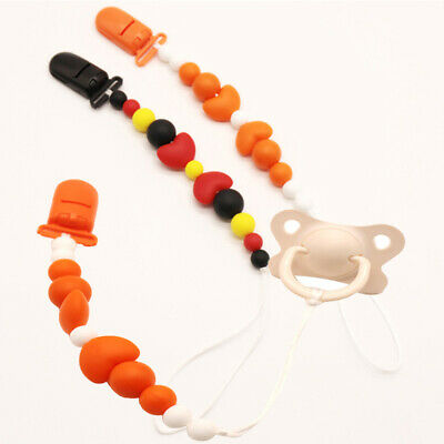 Baby Love Beads Heart-shaped Pacifier Teether Silicone Molar Chain Chew Toy 8C