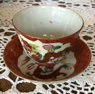 Rare Antique Chinese Porcelain Cup and Saucer 1800's