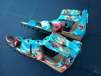 Girls River Island caged/gladiator sandals size 10 blue floral turquoise