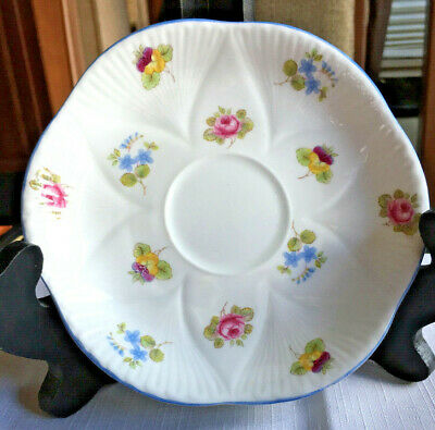 Shelley Bone China Dainty Rose Pansy Forget-me-not Pale Blue Trim SAUCER ONLY