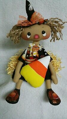 Primitive folk art whimsical raggedy Halloween doll/candy corn/sparkly shoes