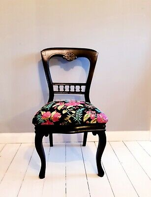 Chair ,Bedroom Chair, Late  Victorian  Balloon Back Upholstered Side Chair C19th