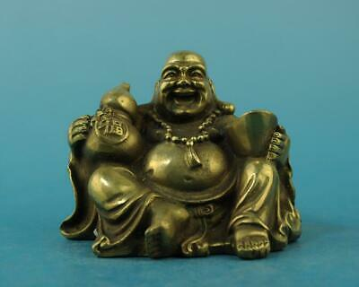 China old fengshui copper hand-carved yuanbao Wealth Maitreya Buddha statue d02